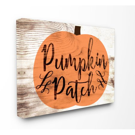 The Stupell Home Decor Collection Pumpkin Patch Halloween Typography Stretched Canvas Wall Art, 16 x 1.5 x 20 (Pumpkin Art)