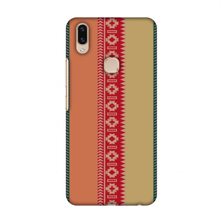 Vivo V9 Case - Tribal patterns and solids- Teal and brick red, Hard Plastic Back Cover, Slim Profile Cute Printed Designer Snap on Case with Screen Cleaning Kit (Pattern Plastic Back Cover)