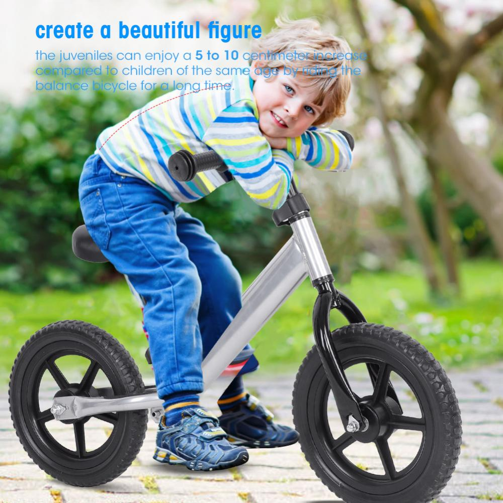 Children Balance Bicycle,4 Colors 12inch Wheel Carbon Steel Kids Balance Bicycle Children No-Pedal Bike