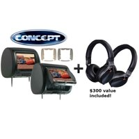"Pair of Concept CLD-903 Chameleon 9"" Headrest with HD Input, Built in DVD Player, Touch Buttons, and High Audio Output w Two Kenwood KH-KR900 On Ear Headphones"