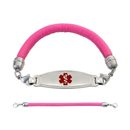Divoti Custom Engraved Contempo Medical Alert Bracelet -Pink Lamb Leather Band