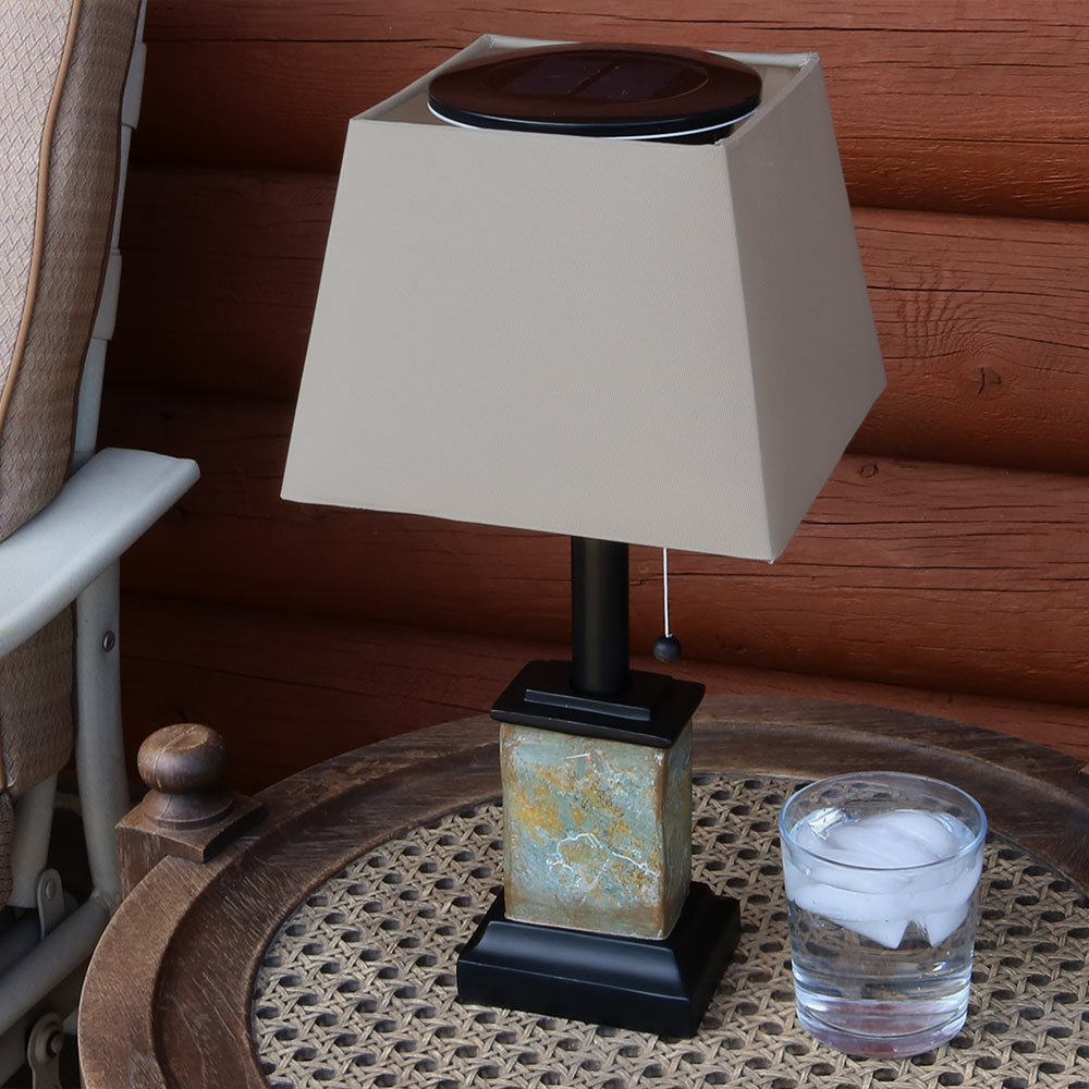 Sunnydaze Outdoor Solar Table Lamp, Contemporary Square Slate, Weather Resistant and Cordless, 16 Inch