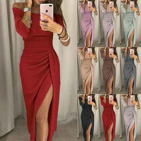 Fashion Brand Newest Womens Spring Off Shoulder Sexy Bodycon Party Clubwear Long Maxi Dress Strapless Casual High Waist Dresses
