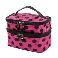 51b6d384f235 Product Image Travel Cosmetic Makeup Bag Organizer Double Layer Dot Pattern Toiletry  Bag Case Pouch With Mirror For