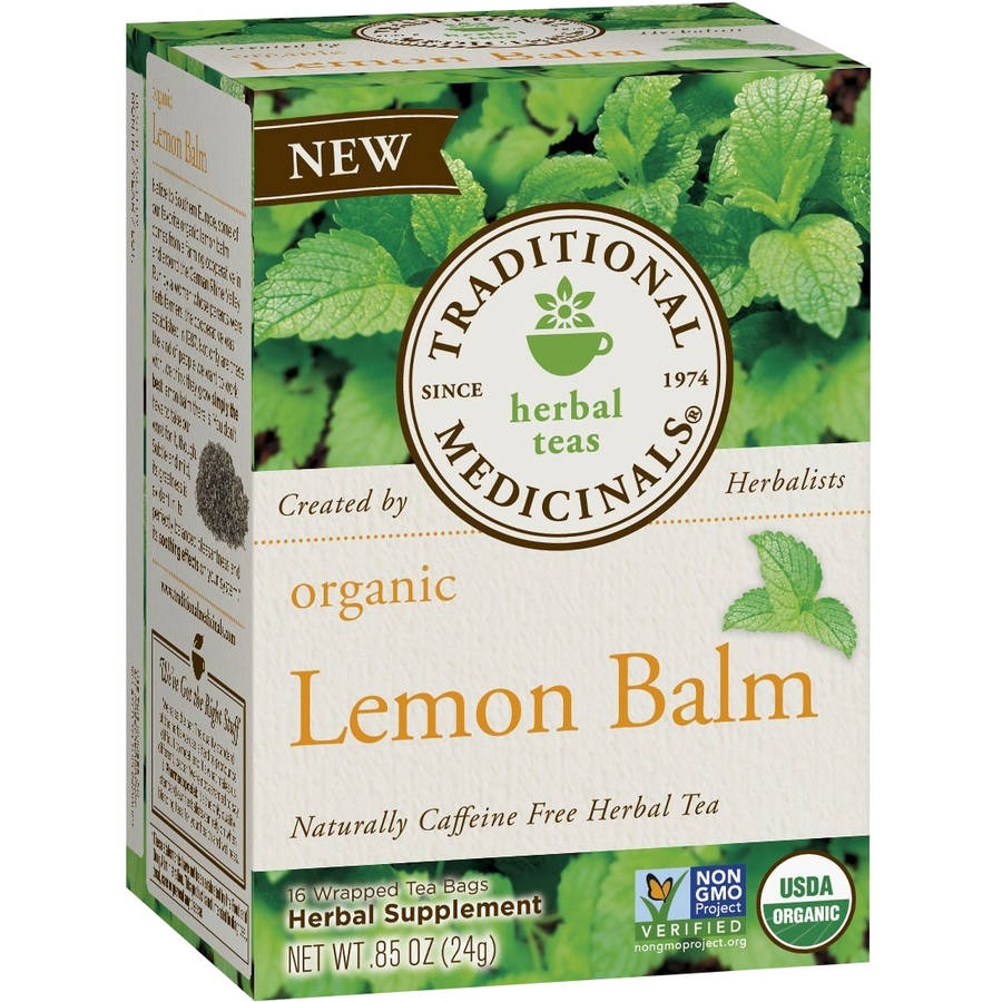 Traditional Medicinals Organic Lemon Balm Herbal Supplement Tea, 16 count, .85 oz, (Pack of 3)