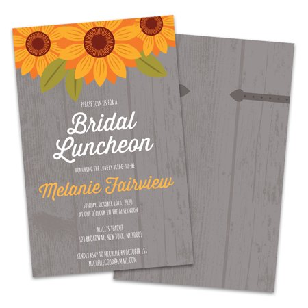 Personalized Country Sunflower Bridal Luncheon Invitations (Wedding Invitations Country Style)