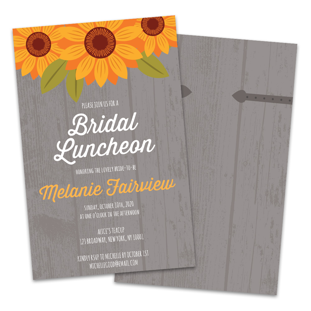 Personalized Country Sunflower Bridal Luncheon Invitations