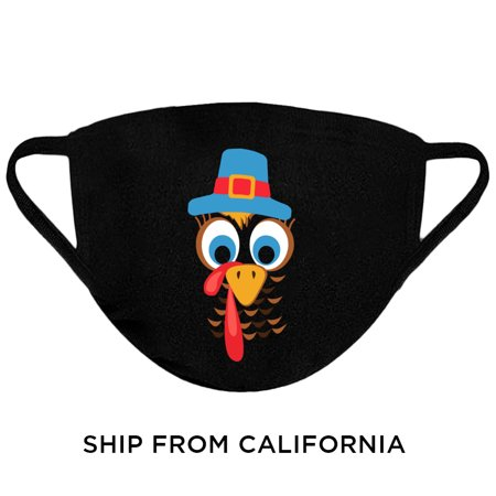 Cute Turkey Face Mask Thanksgiving Mask Adult Prints Washable Reusable Face Mask Cloth Face Nose and Mouth Mask 3 Layered Breathable Face Cover Protection Thanksgiving Gifts for Family Face Mask