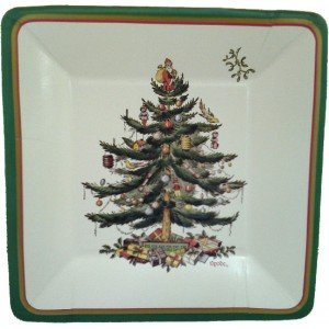 Spode Christmas Tree Square Luncheon Plaes By CR Gibson Ship from US Cr Gibson Loose Leaf