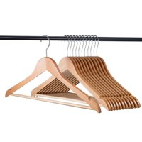 20 Pack Natural wood hangers - Solid Wood Clothes Hangers - Coat Hanger Wooden Hangers