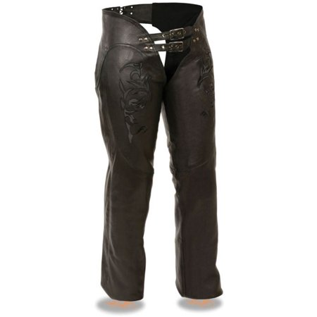 Milwaukee Womens Chaps w/Reflective Tribal Embroidery Black Ladies Black Chaps