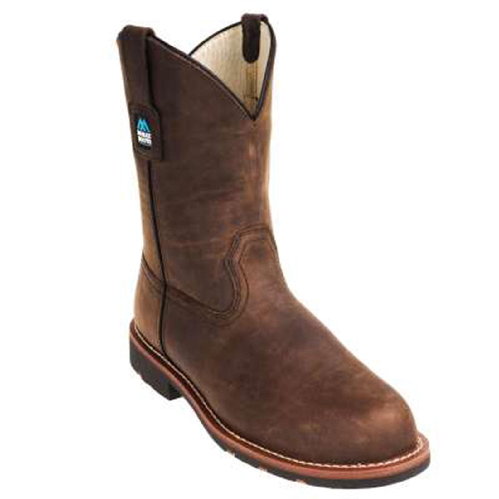 "McRae Men's 11"" Crazy Horse Steel Toe Pull On Brown, MR85384"