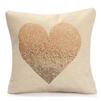 Meigar Love Heart Throw Pillow Cushion Cover 18''x18'' Cotton Linen Back Waist PillowCase Standard Decorative Pillowslip Pillow Protector Case for Sofa Couch Chair Car Seat