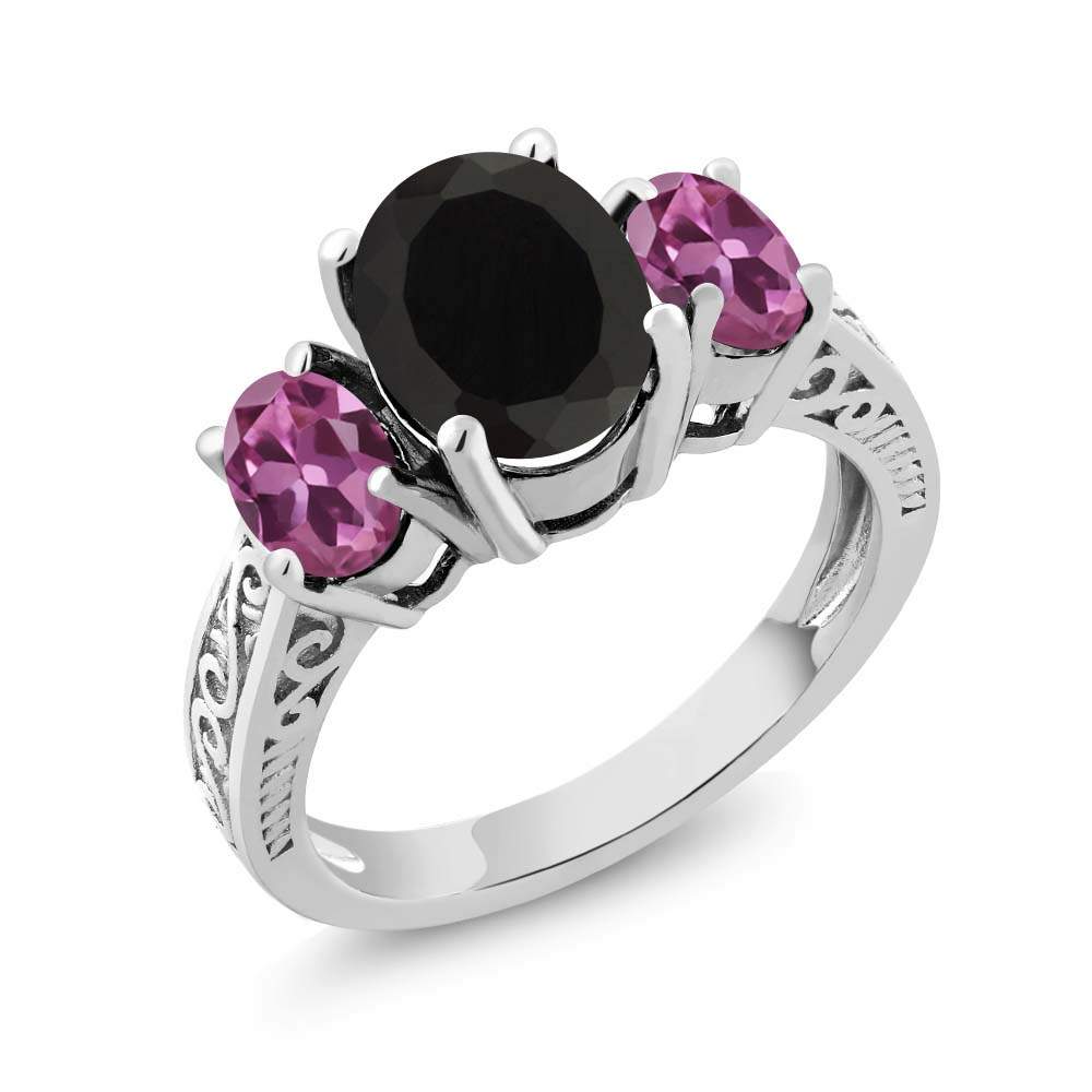 2.63 Ct Oval Black Onyx Pink Tourmaline 18K White Gold 3-Stone Ring by