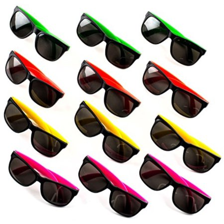 24 Neon Sunglasses For Kids and Adults - Bulk Party Favors for Kid, Goody Bag Fillers, Stocking Stuffers, Bulk Party Pack of 2 Dozen by Neliblu](Neon Themed Party)