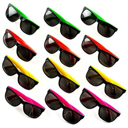 Party Accessories For Adults (24 Neon Sunglasses For Kids and Adults - Bulk Party Favors for Kid, Goody Bag Fillers, Stocking Stuffers, Bulk Party Pack of 2 Dozen by)