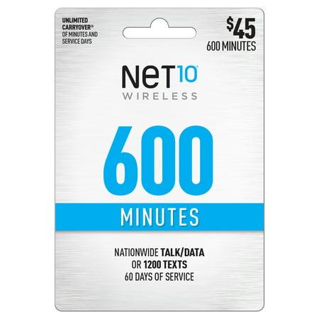 Net10 $45 600 Minutes Prepaid 60 days Plan (Email