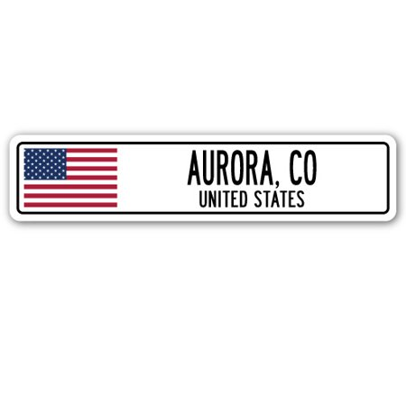 AURORA, CO, UNITED STATES Street Sign American flag city country   - City Of Aurora Co