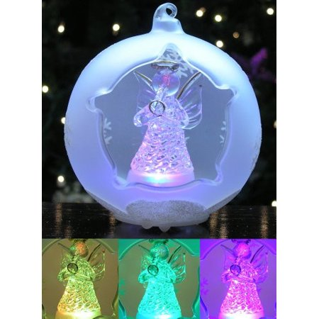 LED Frosted Glass Globe Christmas Ornament Angel - Walmart.com