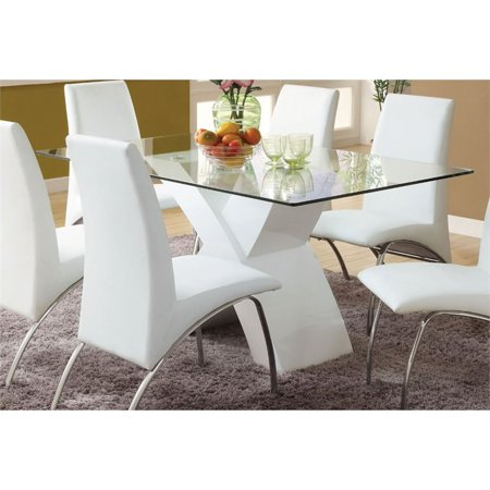 Furniture of America Duell Glass Top Geometric Dining Table in White