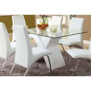 Furniture Of America Duell Glass Top Geometric Dining Table In White Price