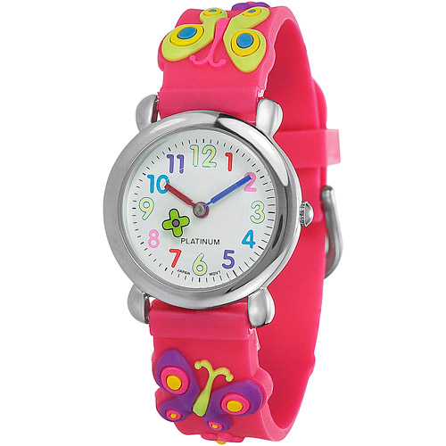 Brinley Co. Girls' Silicone Butterfly Watch