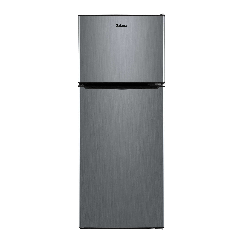 Galanz 4.6. Cu ft Two Door Mini Fridge with Freezer, Stainless Steel Look