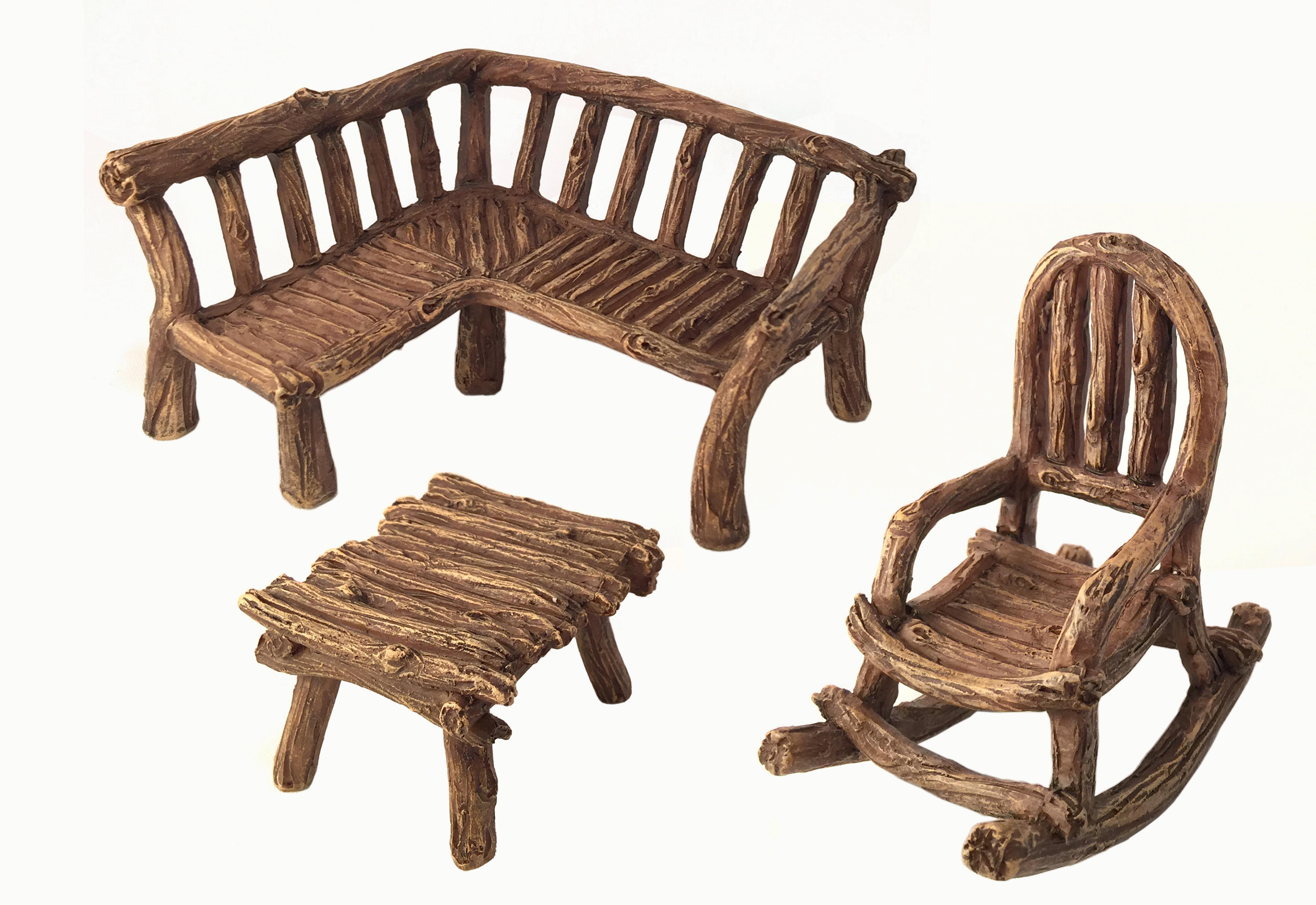 Miniature Fairy Garden Furniture 3Piece Rustic Wood Bench