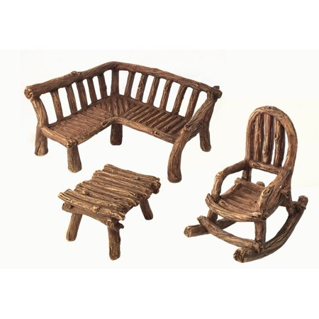 miniature fairy garden furniture 3 piece rustic wood bench rocking chair and miniature