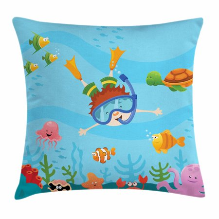 Kids Throw Pillow Cushion Cover, Cute Boy Diving and Exploring Subaquatic Happiness Seashell Summer Cartoon Characters, Decorative Square Accent Pillow Case, 18 X 18 Inches, Multicolor, by (Boss Plows)
