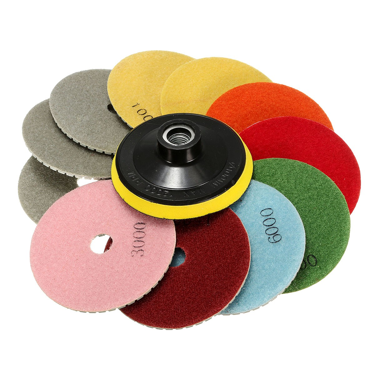 12PCS/Set 4 Inch Diamond Polishing Pads Wet/Dry  Kit Granite Concrete Marble Polishing