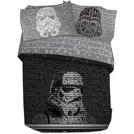 Star Wars Adults Full Size Duvet Cover and Pillowcase Set - 3 Piece [Black] Black Duvet Cover Set