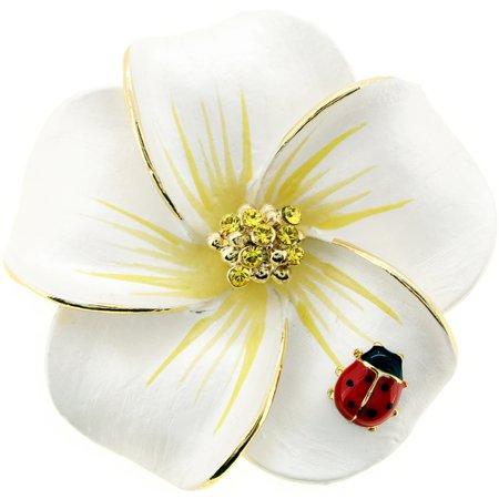 White hawaiian plumeria with red ladybug swarovski crystal flower white hawaiian plumeria with red ladybug swarovski crystal flower pin brooch and pendant mightylinksfo