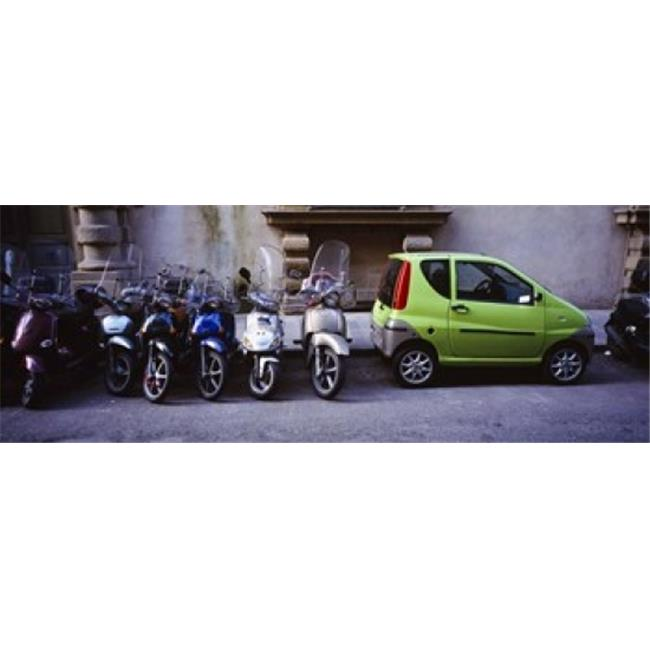 Motor scooters with a car parked in a street  Florence  Italy Poster Print by  - 36 x 12 - image 1 de 1
