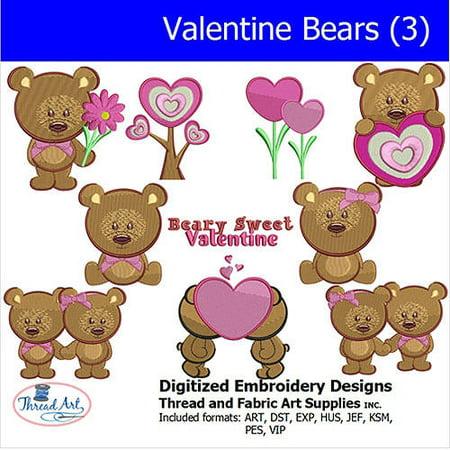 Threadart Machine Embroidery Designs Valentine Bears(3) CD