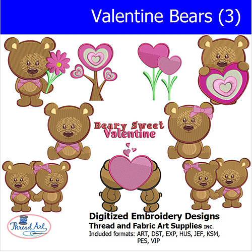 Threadart Machine Embroidery Designs Valentine Bears(3) CD