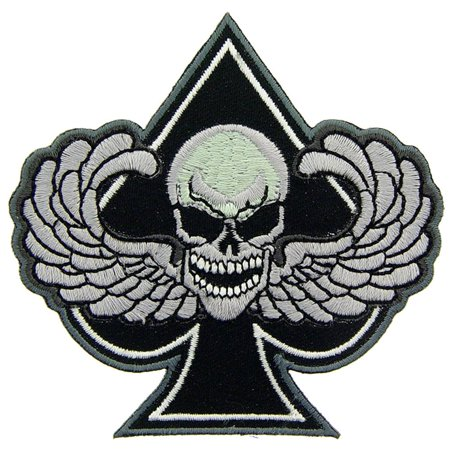 Skull with Wings Spade Patch Black & White 3