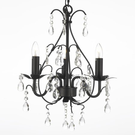 Wrought Iron & Crystal 3 Light Plug In Chandelier