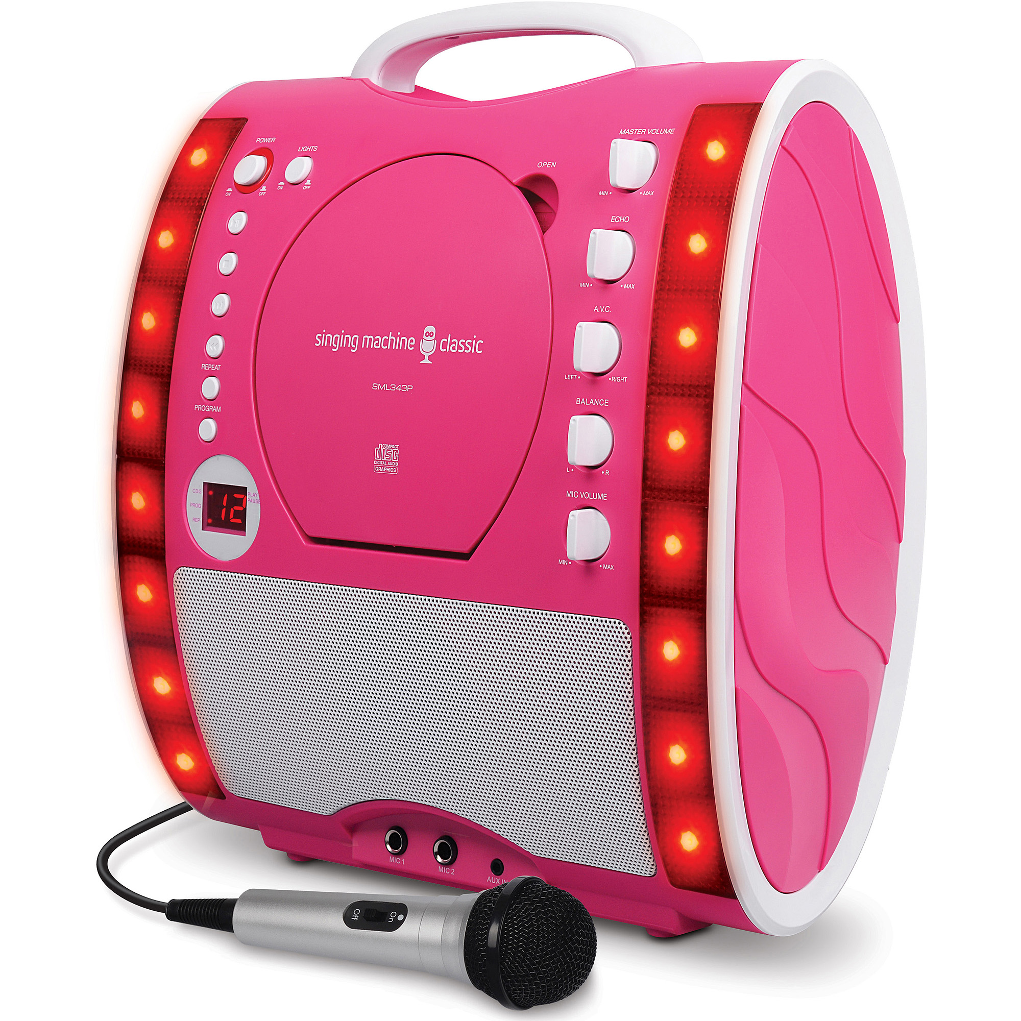 Singing Machine Portable Plug And Play CD G Karaoke System With Microphone Disco Lights Pink