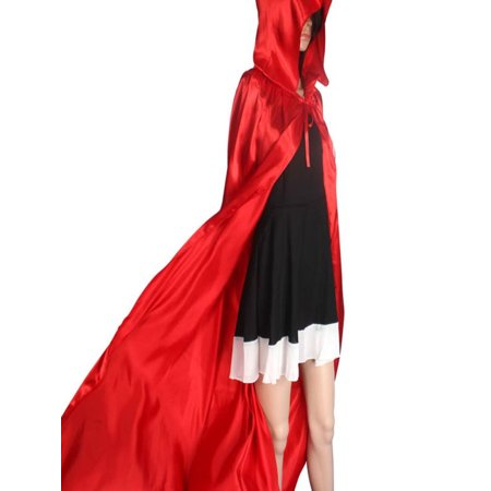 Womail Hooded Cloak Coat Wicca Robe Medieval Cape Shawl Halloween Party - Red Hooded Cloak