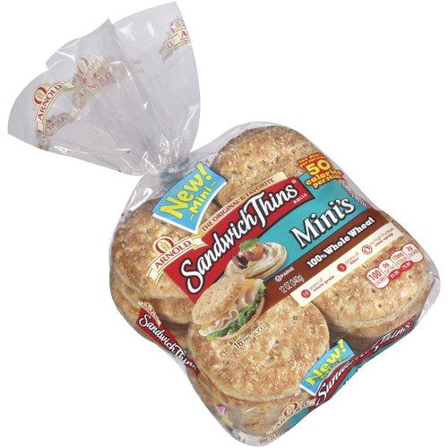 Sandwich Thins Mini's 100% Whole Wheat Rolls, 16 count, 12 oz