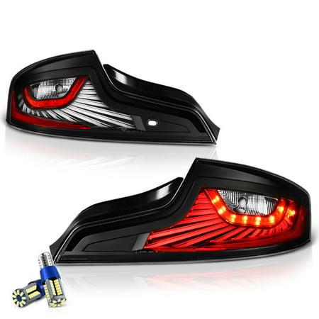 VIPMOTOZ Black Housing OLED Neon Tube LED Tail Light Lamp Assembly For 2006-2007 Infiniti G35 Coupe, Driver & Passenger Side