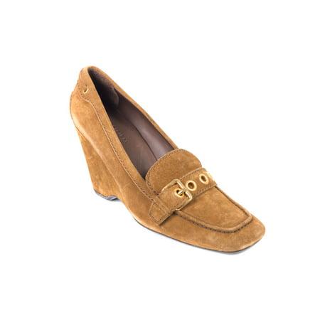 Car Shoe By Prada Women's Light Brown Suede Buckle Wedge Pumps