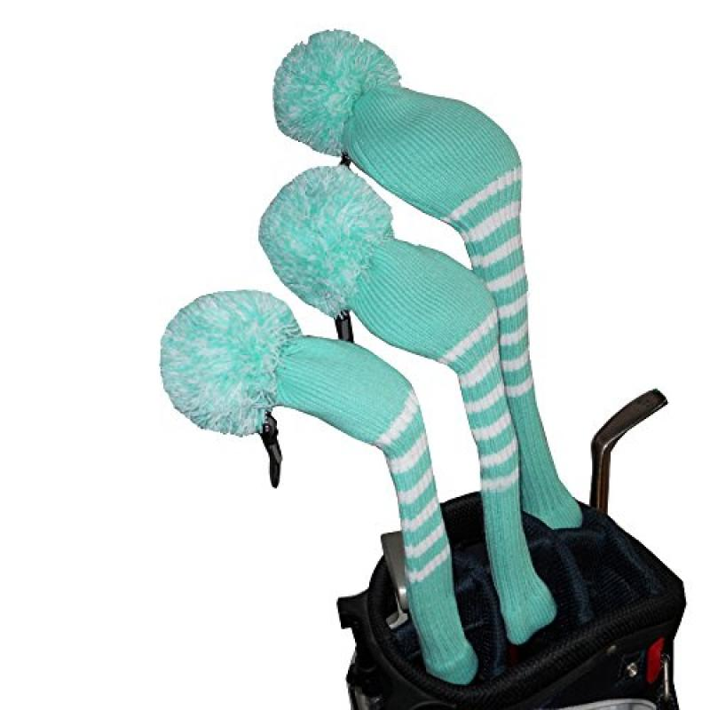 Turquoise Blue Color Golf Pom Pom Head Cover , Set of 3 f...