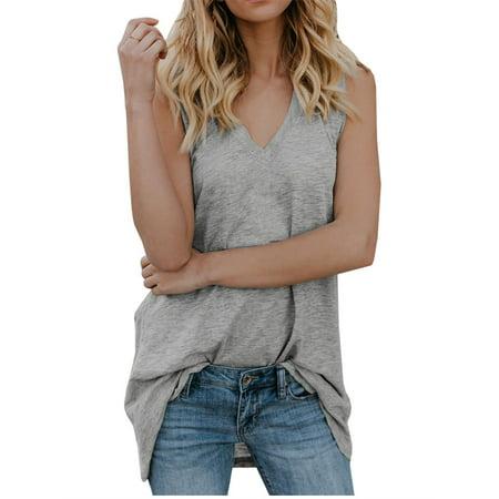 - V-neck Sleeveless Tops Women Summer Casual Solid Vest Shirt