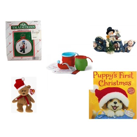 "Christmas Fun Gift Bundle [5 Piece] - Traditions Soldier Cross Stitch - Crazy Mountain Snowman Family ""Snow"" Figurine  - Hallmark Bake Like an Elf Kit with Recipe Cards - Ty Beanie Babies Santa Tedd"