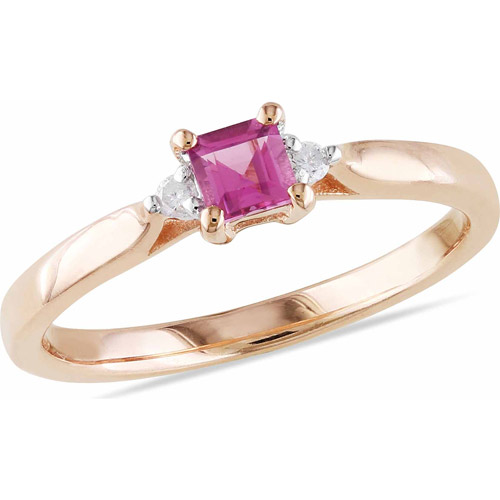 1/3 Carat T.G.W. Princess-Cut Pink Tourmaline and Diamond Accent Pink Rhodium over Sterling Silver Ring