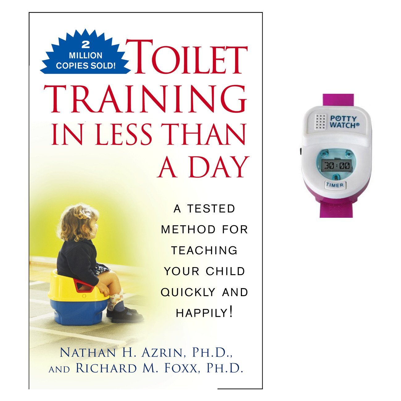 Toilet Training in Less Than A Day Guide Book with Potty Watch Trainer, Pink