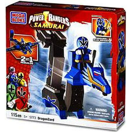Mega Bloks Power Rangers Samurai Blue Dragon Folding Zord Building Set (Blue Power Ranger Samurai)