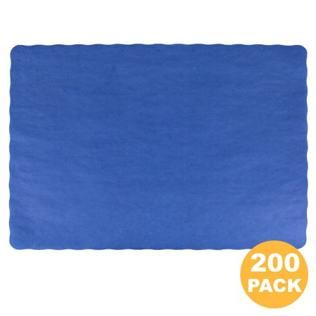 Disposable 14 x 10' Plain Navy Blue Paper Placemat with Decorative Wavy Scalloped Edge [200 - Disposable Placemats